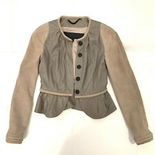 BURBERRY PRORSUM Beige Tan Leather Suede Jacket Sz 38