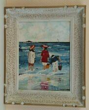 tableau huile sur bois  paysage marine enfants à la plage signé LOUISE PIASER