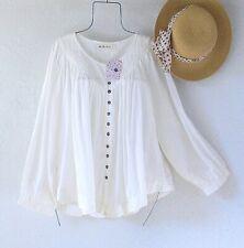 New~$88~White Ivory Peasant Blouse Shirt Bohemian Cotton Flowy Boho Top~Size XL