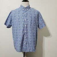 Old Navy Mens XXL White Blue Slim Fit Classic Shirt Short Sleeve Button Front