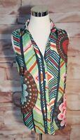 Linea Domani Size 6 Limited Edition Multicolor Resort Sleeveless Blouse Button