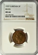 GREAT BRITAIN 3 PENCE 1937 NGC MS 66 UNC
