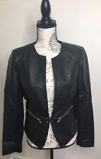 Women's Black Rivet Faux Leather Jacket Blazer Lined Size Small S NWOT