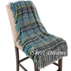 Kennebunk Home Santa Fe Pewter Turquoise Blue Gray Handwoven Throw Blanket
