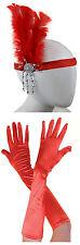 Womens 1920's Flapper Accessory 2 PC Set Charleston Gatsby Fancy Dress Costume Red Headband Gloves