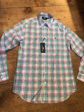 Vineyard Vines Whale Shirt Putnam Plaid Capri Blue LS New Slim Fit Medium M