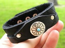 Buffalo Leather Cuff  Bracelet Native Indian Navajo sterling silver turquoise