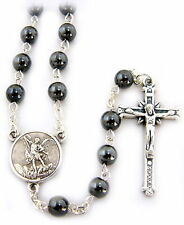 NEW BEAUTIFUL MADE IN ITALY HEMATITE BEAD ST MICHAEL THE ARCHANGEL ROSARY