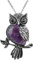 Top Plaza Owl Necklaces Healing Crystal Stone Pendant Reiki Spiritual Energy Gem