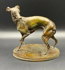 """Rare Antique Signed """"P.J. Mene"""" Pierre Jules Mene (1810-1879) Bronze Whippet Dog"""