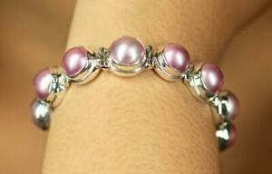Handmade Sterling Silver .925 Bali Round Style Pink Mabe Pearl Adjust Bracelet.