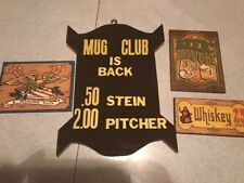 Vintage Hand Painted Beer Whiskey  Wooden Bar Signs Man cave
