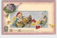 ANTIQUE POSTCARD EASTER WINSCH BABY WITH CHICKS AND CHICKEN RED HAT EMBOSSED HAP