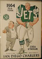 1964 AFL Pro Football Program-San Diego Chargers vs New York Jets-Weeb Ewbank