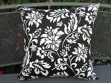 Outdoor Black & White Classic Flower & Leaf Cushion Cover 2 sizes AU Made