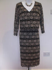 NEW with TAG  M&S PER UNA  Black/Gold Floral Lace V Neck Lined PARTY Dress  16 r