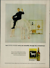 1956 White Horse Scotch Whisky Man In Suite On Horse Vintage Print Ad 2689