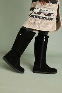 Anthropologie Size US 6 EMU Shearling Lined Tall Suede Boots Black Merino Wool