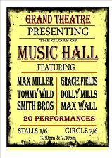 vintage Theatre Sign Vintage style Music Hall Theatre Sign Theatre Poster