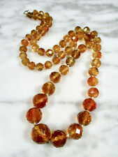 VICTORIAN FACETED MADEIRA CITRINE LARGE ROUND BEAD 14K GOLD NECKLACE 254 CARATS!