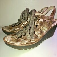 FLY LONDON*YITO BRONZE METALLIC LEATHER LACE-UP WEDGE PLATFORM SANDALS*39 8-8.5