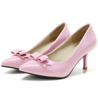Women Pointy Toe Sweet Bow Patent Leather Stiletto Kitten Heel Party Pumps Shoes