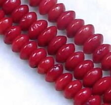 4x2mm Red Banboo Coral Rondelle Abacus Beads 16""