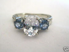 14k White Gold White and Blue Sapphire Ring with Filigree Carved Band 2.32 Cts