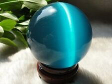 ASIAN QUARTZ BLUE CAT EYE CRYSTAL BALL SPHERE 40MM + STAND