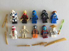 LEGO NINJAGO MINIFIG LOT of 10 MINIFIGS 4 Ninjas Weapons Lot m500b