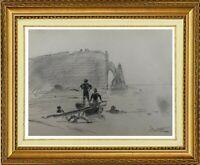 CHARLES WISLIN (1852-1932)  SCENE DE PLAGE A ETRETAT EN NORMANDIE EN 1879 (651)