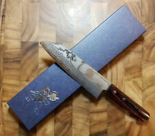 Yoshimi Kato VG1 Damascus 170mm Japanese Santoku Knife - Red Handle