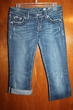 "MISS ME Ladies' Size 27 CUT-OFF DENIM CAPRIS (Boot w/ 21.5"" inseam) EUC"