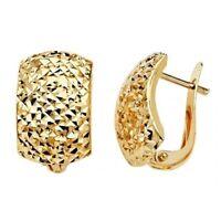 Real Italian Solid 14k Yellow Gold Diamond Cut Half Huggies Clip Earrings 18MM