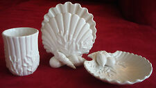 NEW Shell/ocean theme,Fitz & Floyd bathroom accessories,cup,soap dish,towel hold