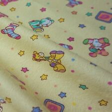Lemon 100% Brushed Cotton Winceyette Flannelette Fabric Teddy Nursery *Per Metre