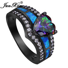 Mystic Rainbow Topaz Blue Fire Opal Heart Ring Black Gold Wedding Band Size 5-12