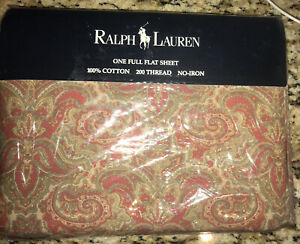 NEW In Package Ralph Lauren Bridget Pink Paisley Full  Flat Sheet