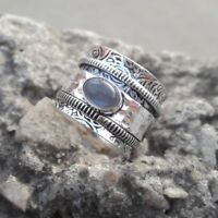 Labradorite Stone Solid 925 Sterling Silver Spinner Ring Meditation Ring Size