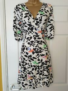 JOE BROWNS JERSEY FIT AND FLARE SWING DRESS HUMMING BIRDS SIZE 10 BNWOT