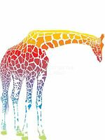 ART PRINT POSTER PAINTING DRAWING FADED MULTICOLOURED GIRAFFE GRAPHIC LFMP1027