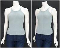 Womens Pianoforte di Max Mara Top Knit Blue Sleeveless Italy Size S