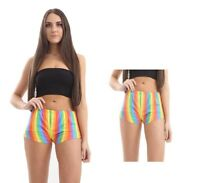 New Women Pride Rainbow Stripe Hot Pants Pride Festival Fancy Shorts