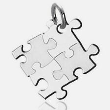 Puzzle Piece Autism Awareness Silver Stainless Steel Square Pendant Necklace