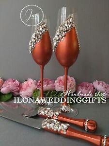 Swarovski Crystal Personalized Wedding Toast Glass Bling Sparkle Clear Silver
