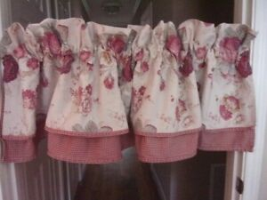 Waverly Norfolk Rose Red and Tan Floral/Check Double Layered Valances--2