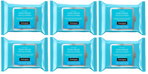 Neutrogena Hydro Boost Cleanser Face Wipes, Hyaluronic Acid, 25 Wipes (6 Pack)