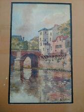 Superbe aquarelle signée paysage pont et rivière fin XIXème début XXème Provence
