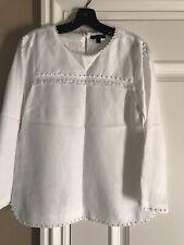 J.CREW Embellished Linen Blouse/Top White 4