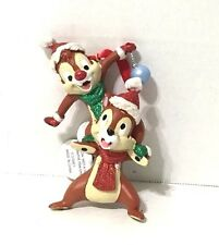 Disney Parks Christmas Chip N Dale Glitter Scarf Red & Green  Ornament